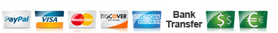 Pay with PayPal, Credit Cards, Wire Transfer